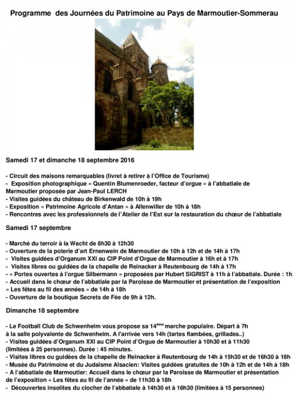 2016 09 14 programme des journees du patrimoine au pays de marmoutier sommerau